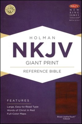 NKJV Giant Print Reference Bible, Brown LeatherTouch, Thumb-Indexed  -