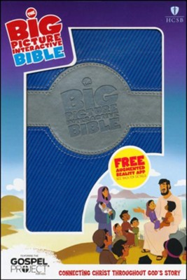 HCSB Big Picture Interactive Bible, Blue and Silver LeatherTouch  -
