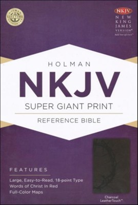 NKJV Super Giant Print Reference Bible, Charcoal LeatherTouch  -
