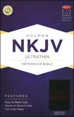NKJV UltraThin Reference Bible, Saddle Brown LeatherTouch  -