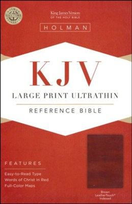 KJV Large Print UltraThin Reference Bible, Brown Imitation Leather, Thumb-Indexed  -
