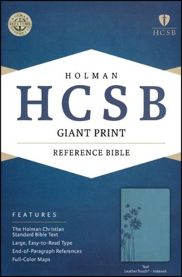 HCSB Giant Print Reference Bible, Teal LeatherTouch, Thumb-Indexed , Flower  -