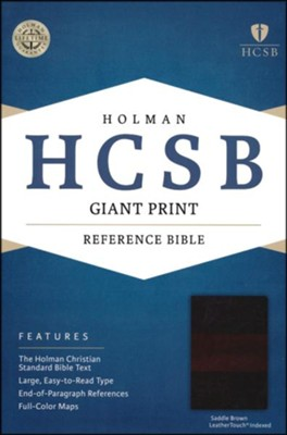 HCSB Giant Print Reference Bible, Saddle Brown LeatherTouch, Thumb-Indexed  -