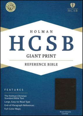 HCSB Giant Print Reference Bible, Brown Genuine Cowhide  -