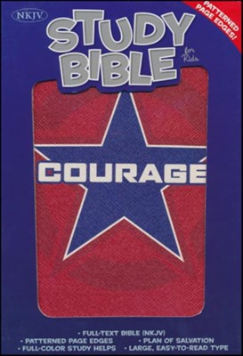 NKJV Study Bible for Kids, Courage LeatherTouch  -
