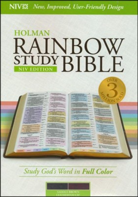 NIV Rainbow Study Bible, Saddle Brown LeatherTouch, Thumb-Indexed  -