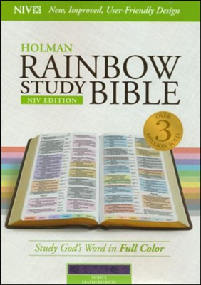 NIV Rainbow Study Bible, Purple LeatherTouch  -