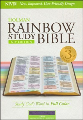 NIV Rainbow Study Bible, Purple LeatherTouch, Thumb-Indexed - Slightly Imperfect  -