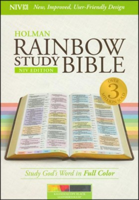 NIV Rainbow Study Bible, Kaleidoscope Black LeatherTouch  -