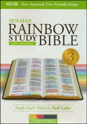 NIV Rainbow Study Bible, Kaleidoscope Black LeatherTouch, Thumb-Indexed  -