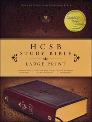 HCSB Study Bible, Large Print, Imitation Leather, Brown with Cross, Thumb Indexed  -