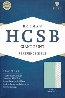 HCSB Giant Print Reference Bible--soft leather-look, mint green  -