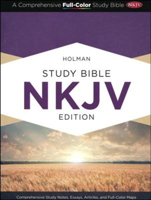 NKJV Holman Study Bible--soft leather-look, purple  -