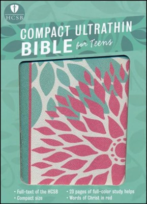 HCSB Compact Ultrathin Bible for Teens--soft leather-look, green blossoms  -