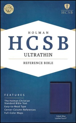 HCSB Ultrathin Reference Bible--soft leather-look, cobalt blue  -