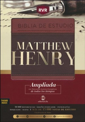 Biblia de estudio RVR Matthew Henry, piel italiana, indice  (RVR Matthew Henry Study Bible, Italian Leather, Index)  -     Edited By: Alfonso Ropero     By: Matthew Henry