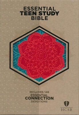 HCSB Personal Size Essential Teen Study Bible, Coral Flower LeatherTouch  -