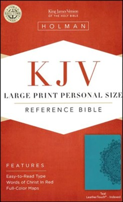 KJV Large Print Personal Size Reference Bible, Teal LeatherTouch, Thumb-Indexed - Imperfectly Imprinted Bibles  -