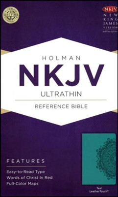NKJV Ultrathin Reference Bible, Teal LeatherTouch  -