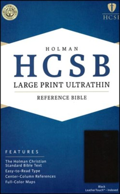 HCSB Large Print Ultrathin Reference Bible, Black LeatherTouch, Thumb-Indexed  -