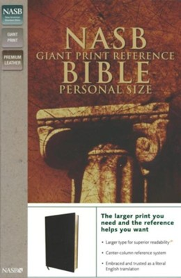 NASB Giant Print Reference Bible Personal Size, Genuine Leather, Custom - Imperfectly Imprinted Bibles  -