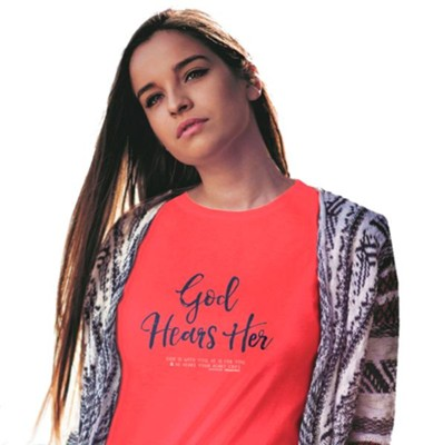 God Hears Her, Regular Fit Tee Shirt, Coral Silk, Adult Small  -