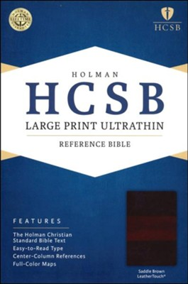 HCSB Large Print Ultrathin Reference Bible, Saddle Brown LeatherTouch, Thumb-Indexed  -
