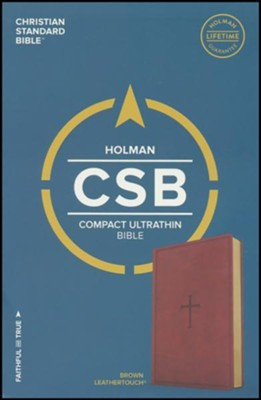 CSB Compact Ultrathin Reference Bible, Brown LeatherTouch  -