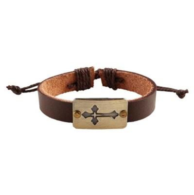 Leather Cross Bracelet Brown