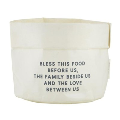 Bless This Food Before Us Reusable Sack, White, Large  -