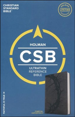 CSB Ultrathin Reference Bible, Charcoal LeatherTouch  -