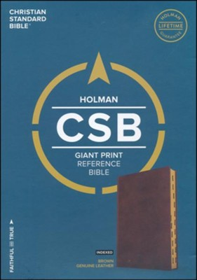 CSB Giant Print Reference Bible, Brown Genuine Leather, Thumb-Indexed - Imperfectly Imprinted Bibles  -