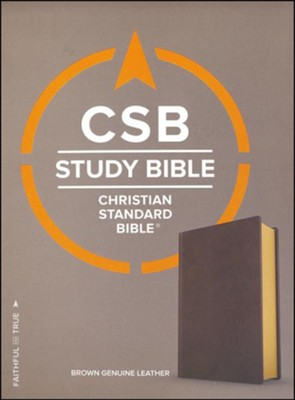 CSB Study Bible, Brown Genuine Leather   -