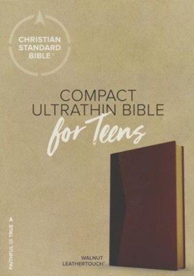 CSB Compact Ultrathin Bible for Teens, Walnut LeatherTouch  -