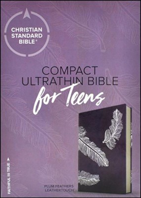 CSB Compact Ultrathin Bible for Teens, Plum Feathers LeatherTouch  -