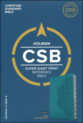 CSB Super Giant Print Reference Bible, Teal LeatherTouch, Thumb-Indexed  -