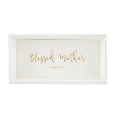 Blessed Mother Tabletop Tray, White  -