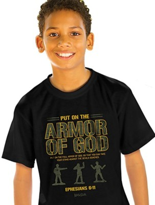 Armor of God Shirt, Black, Youth Large  -