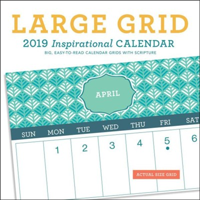 2019 Large Grid Patterns, Wall Calendar  -