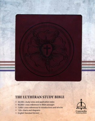 The Lutheran Study Bible - Luthers Rose - Imitation Leather, Brown/Burgundy  -