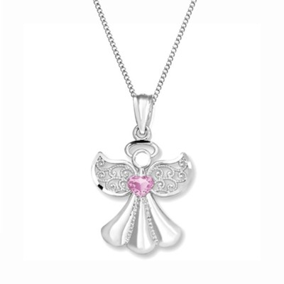 Angel Bottled Necklace with Pink Accent Stone  -     By: Embrace your message
