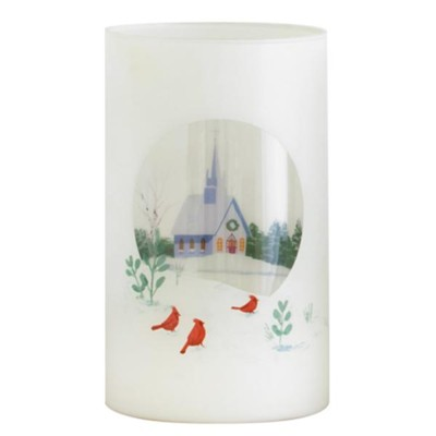 Church, Glass Candle Holder  -