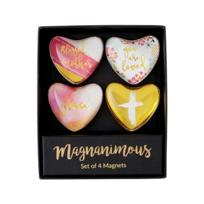 Blessed Mother Heart Shaped Magnets, Set of 4  -
