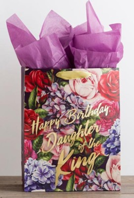 Happy Birthday Daughter Of The King Gold Foil Stamped Giftbag LargeHappy