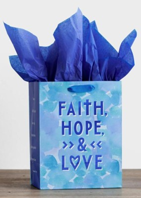 Faith, Hope, and Love, Sapphire Blue Foil Stamped, Giftbag, Medium  -