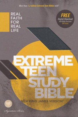 NKJV Extreme Teen Study Bible, Leathersoft, charcoal  -