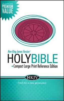 NKJV Compact Large Print Reference Bible, Leathersoft, raspberry  -