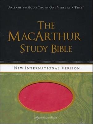 NIV MacArthur Study Bible Leathersoft, Sunset Pink, Thumb Indexed  -