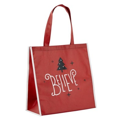 Believe, Christmas Tree, Tote Bag, Red  -