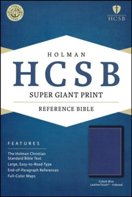 HCSB Super Giant-Print Reference Bible--soft leather-look, cobalt blue (indexed)  -